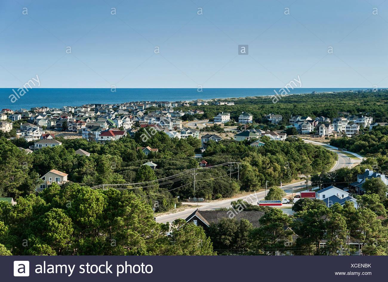 Plage de luxe maisons avant, Corolla, Outer Banks, Caroline du Nord, États-Unis Photo Stock