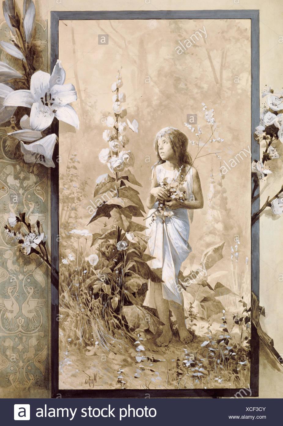 Beaux-arts, Mucha, Alphonse (1860 - 1939), peinture, jeune fille, l'artiste a le droit d'auteur , de ne pas être effacé Banque D'Images