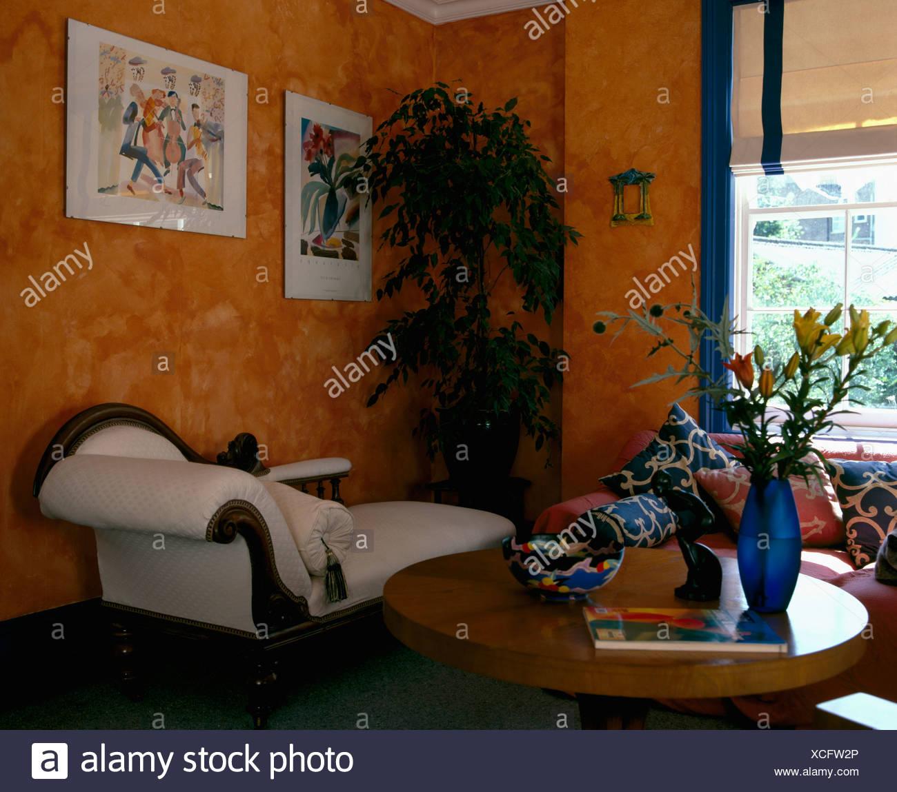 Spongeing Orange effet de peinture sur les murs des années ...