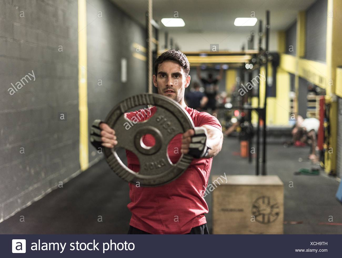 Mid adult man working out at gym Photo Stock