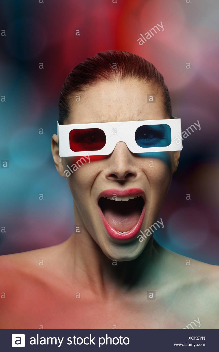 Peur de femme Photo Stock