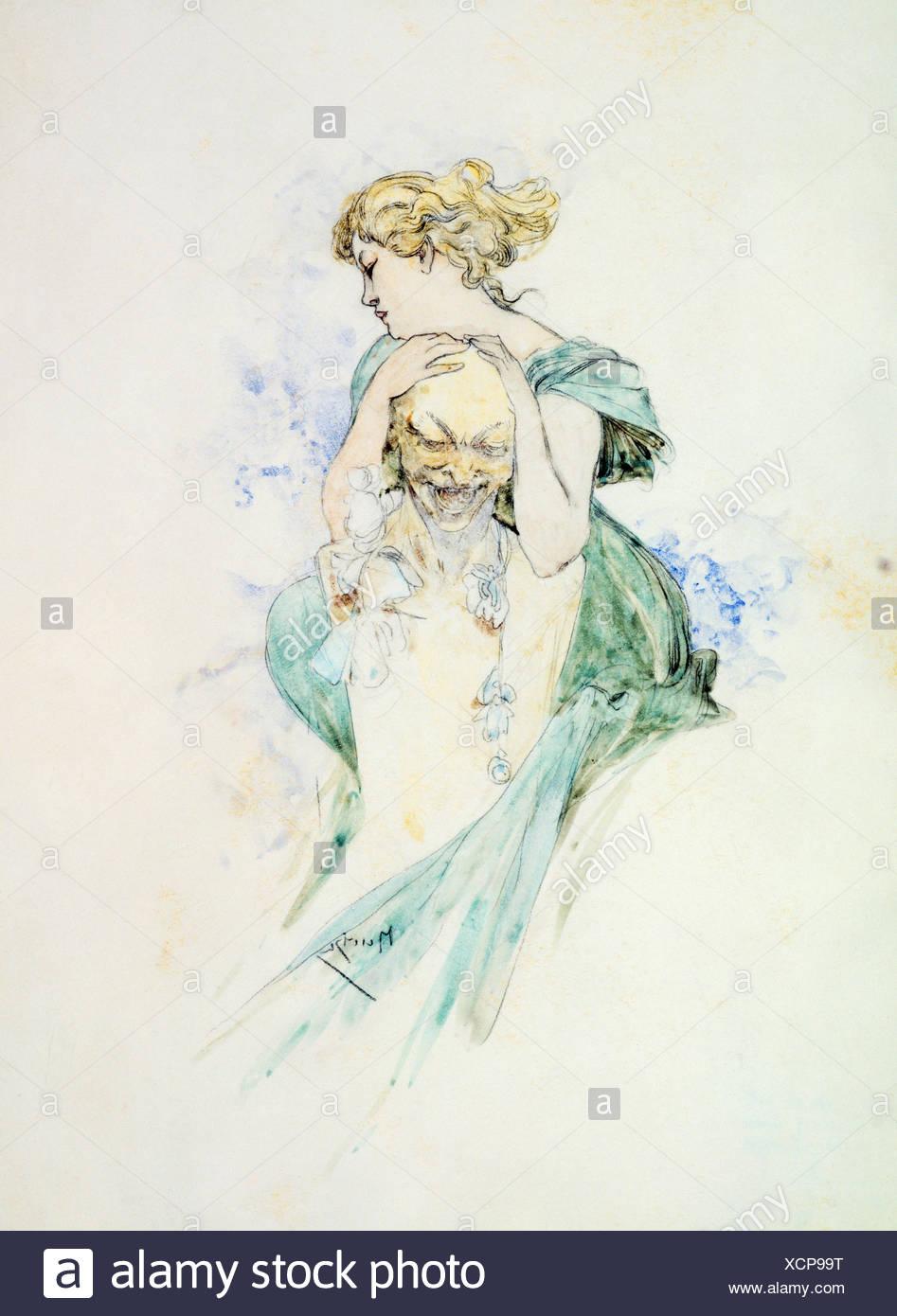 Buste de femme et d'Alfons Mucha, 19e / 20e siècle Photo Stock