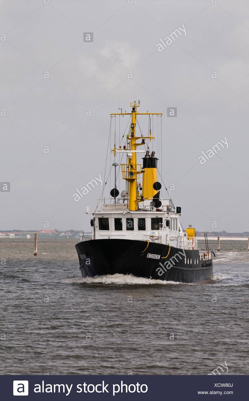 Sondage spécial navire 'Norderney', pour des sondages et des sondages dans la zone intertidale, Frise du Nord, la mer des Wadden, Norddeich Photo Stock