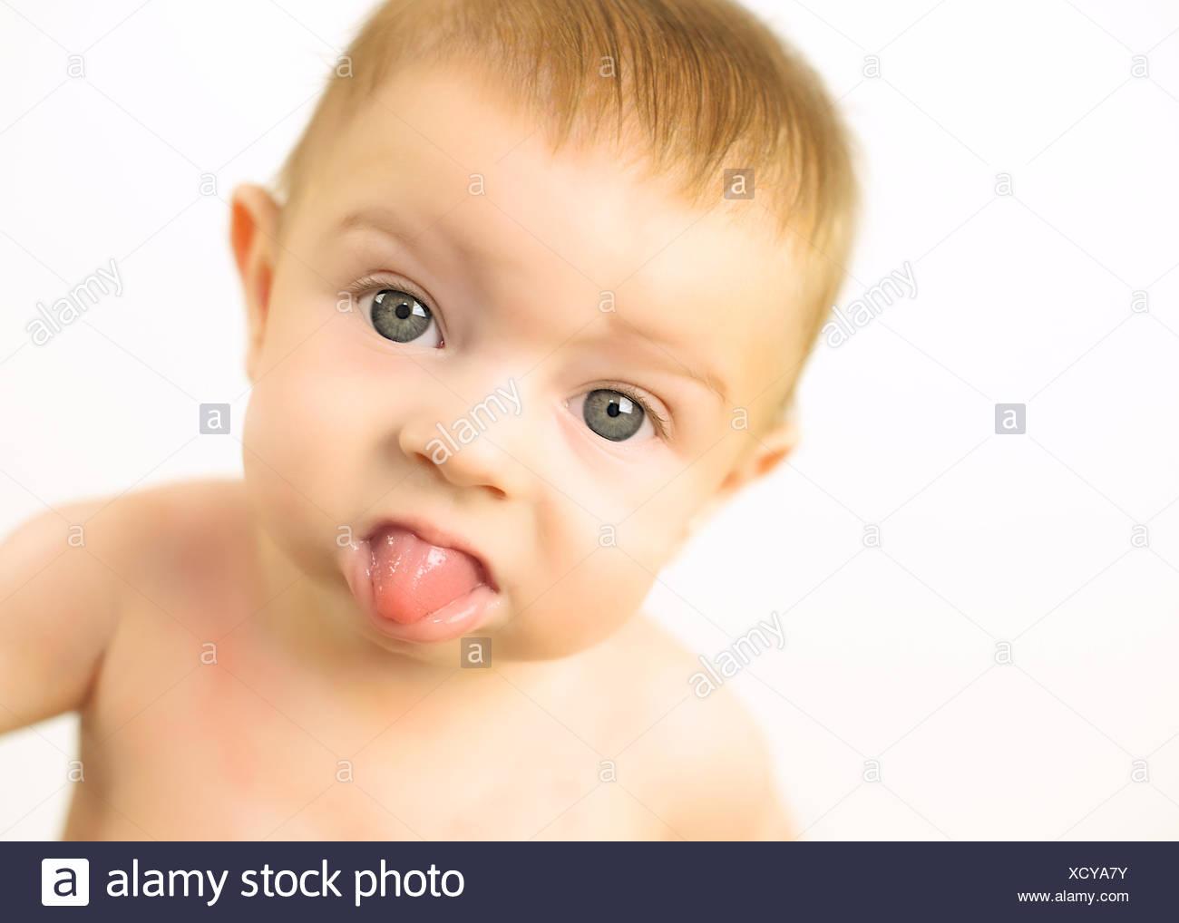 Cheeky baby girl (6-11 mois) Photo Stock
