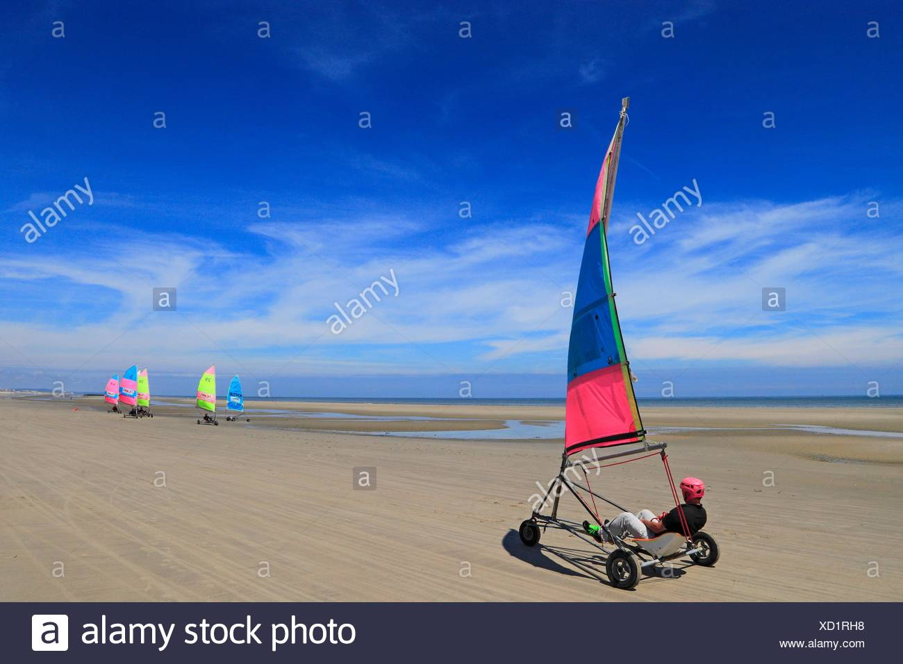 France Cote Nord Berck Sur Mer Char A Voile Photo Stock Alamy