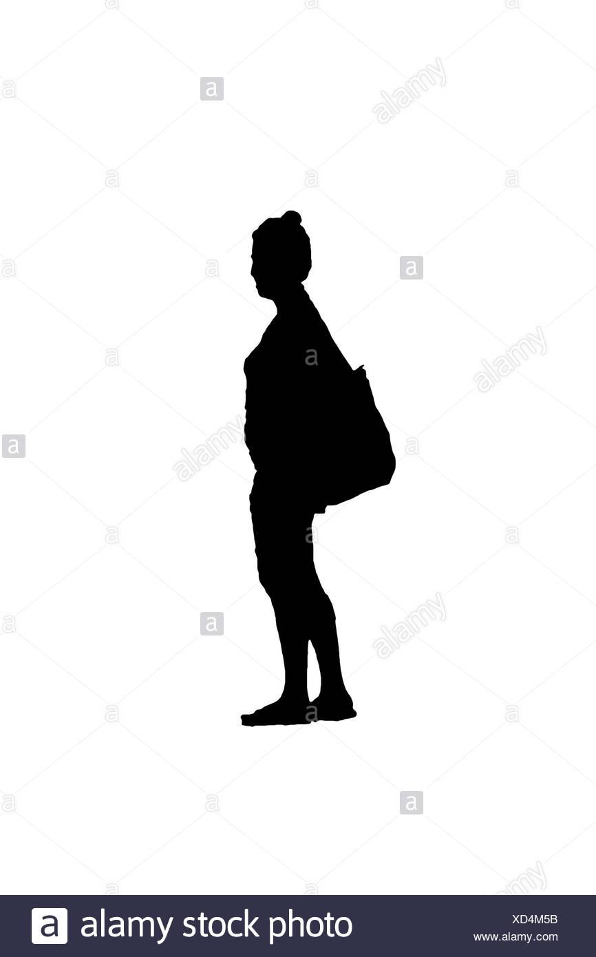 Vue de côté avec sac femme Silhouette Banque D'Images