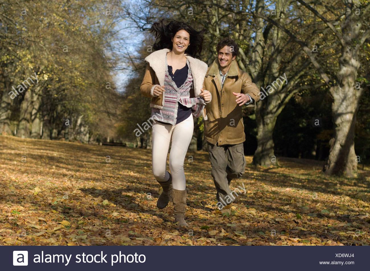 Couple d'exécution en bois Photo Stock