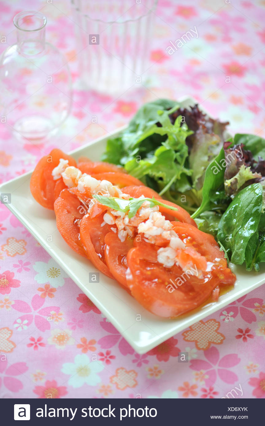 Salade de tomates et d'écrevisses Photo Stock