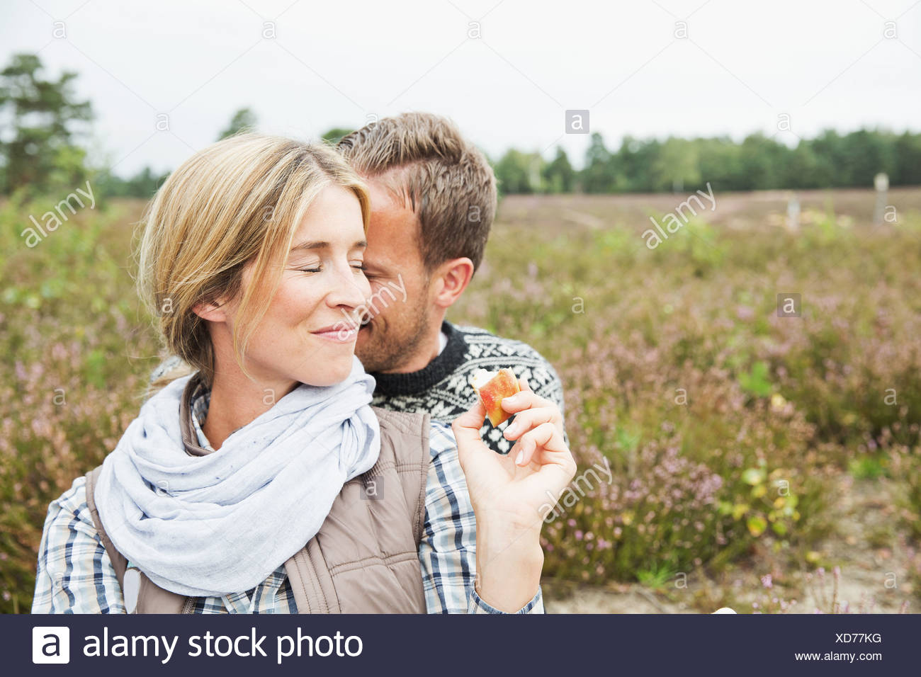 Couple, woman smiling with eyes closed Photo Stock