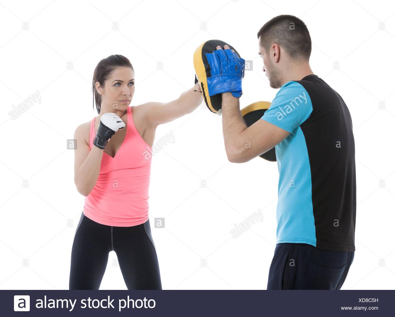 Exercice d'entraînement de boxe Photo Stock