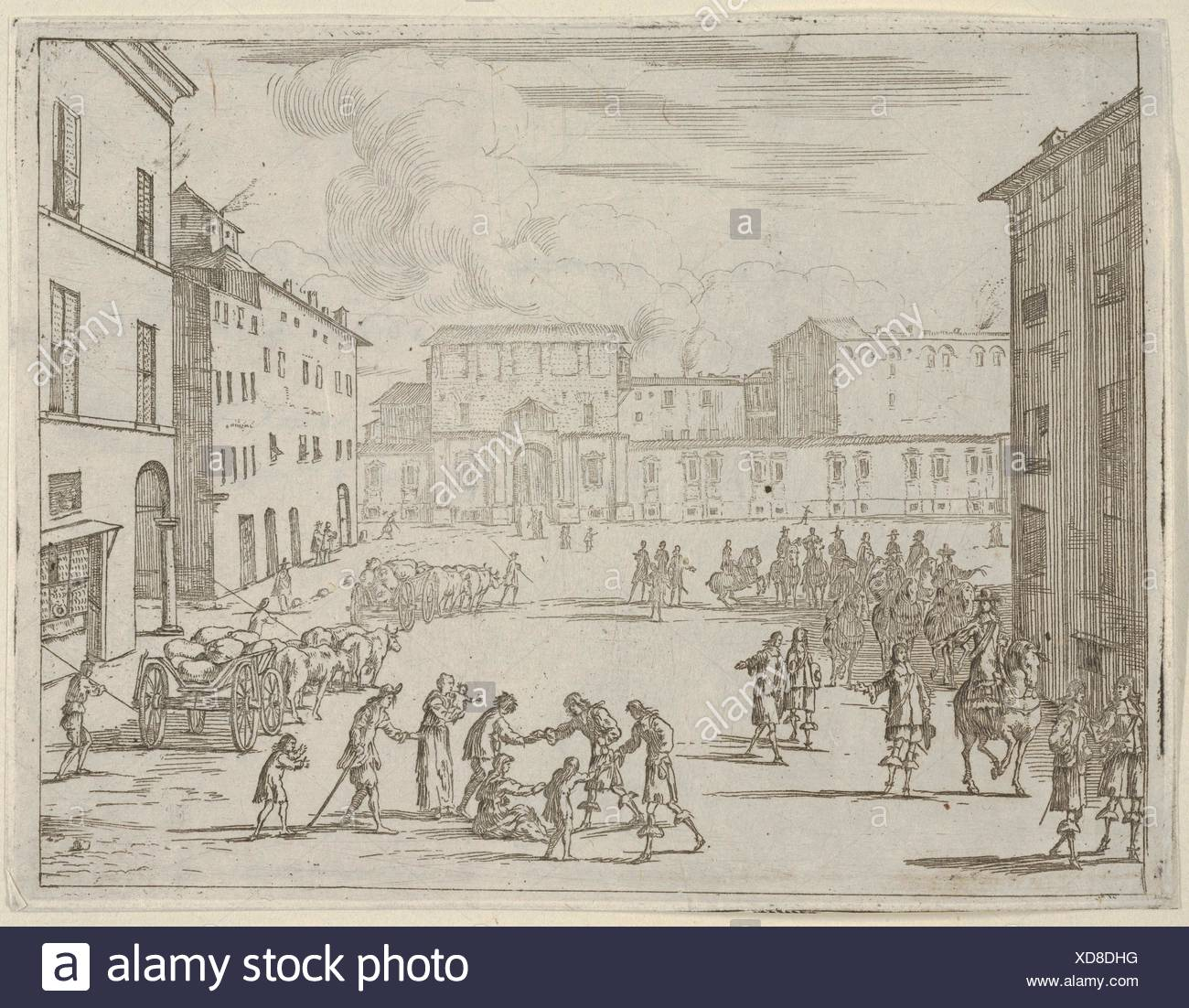 Francesco I d'Este aide ses sujets avec une grande générosité lors de la Grande Famine de 1648 et 1649, de l'idea di un principe ed Eroe Cristiano Photo Stock