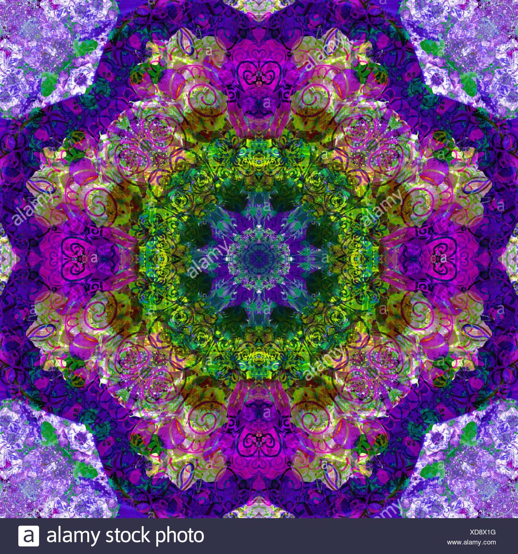 Un Mandala En Filigrane De Dessin En Couleur Et Fleur Photographie