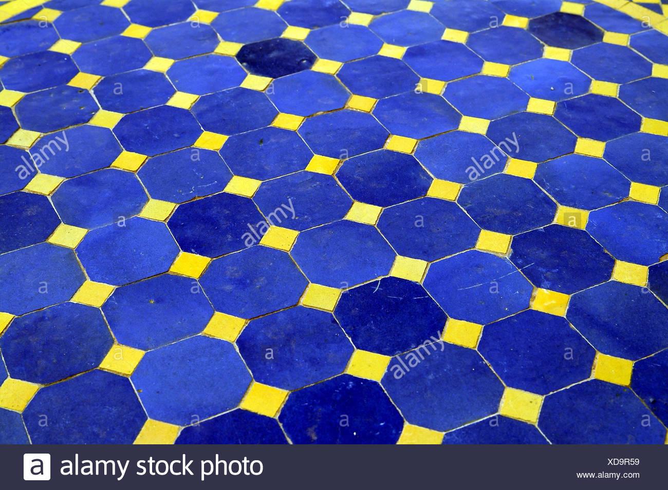 Plaque de table, mosaïque, bleu, jaune, détail meuble ...