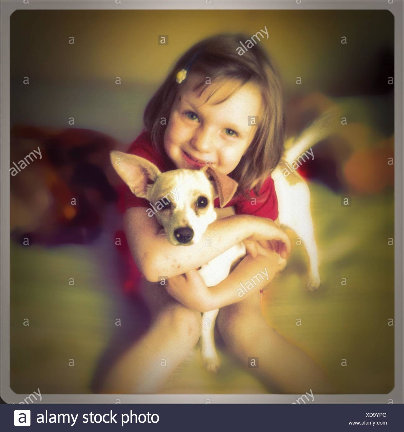 Young Girl lying chiot Photo Stock