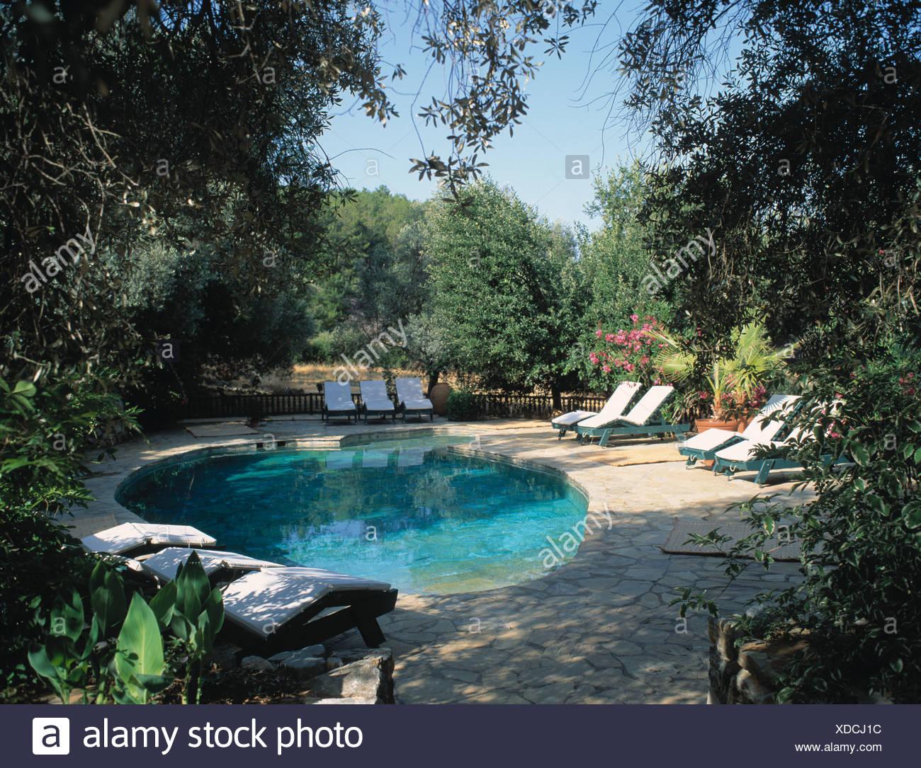 chaises longues sur le pavage autour de la piscine turquoise