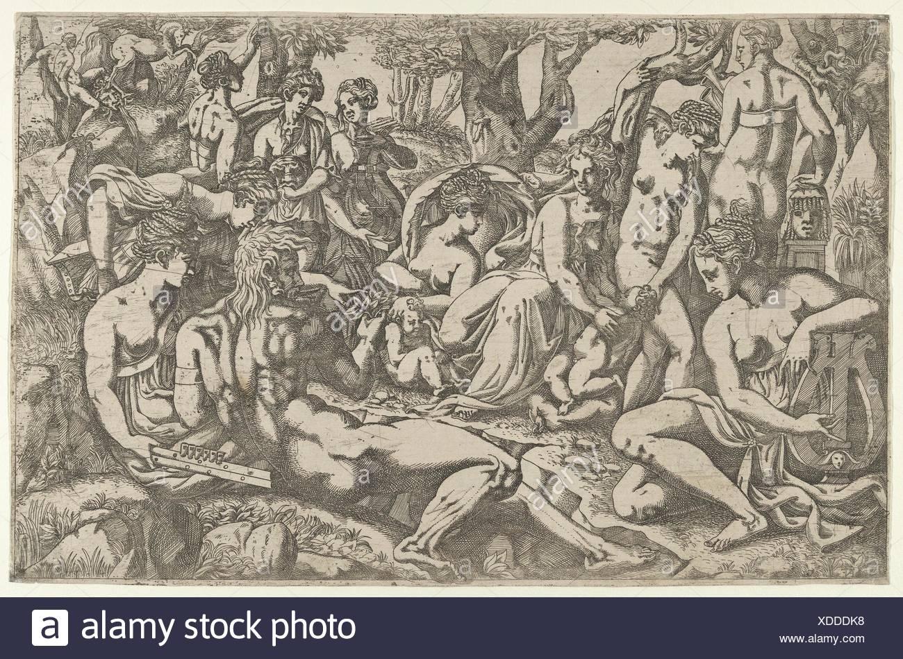 Les Muses au pied de Mt. Parnasse. Artiste: Antonio Fantuzzi (Italien, actif en France, en 1537-45); Artist: Après le Sidaner (Italien, Photo Stock