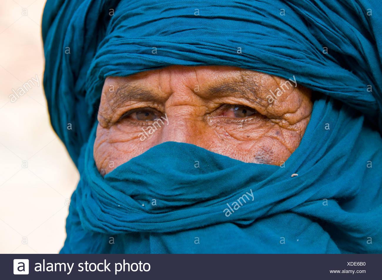 Homme touareg, portrait, Essendilène, Algérie, Afrique Photo Stock