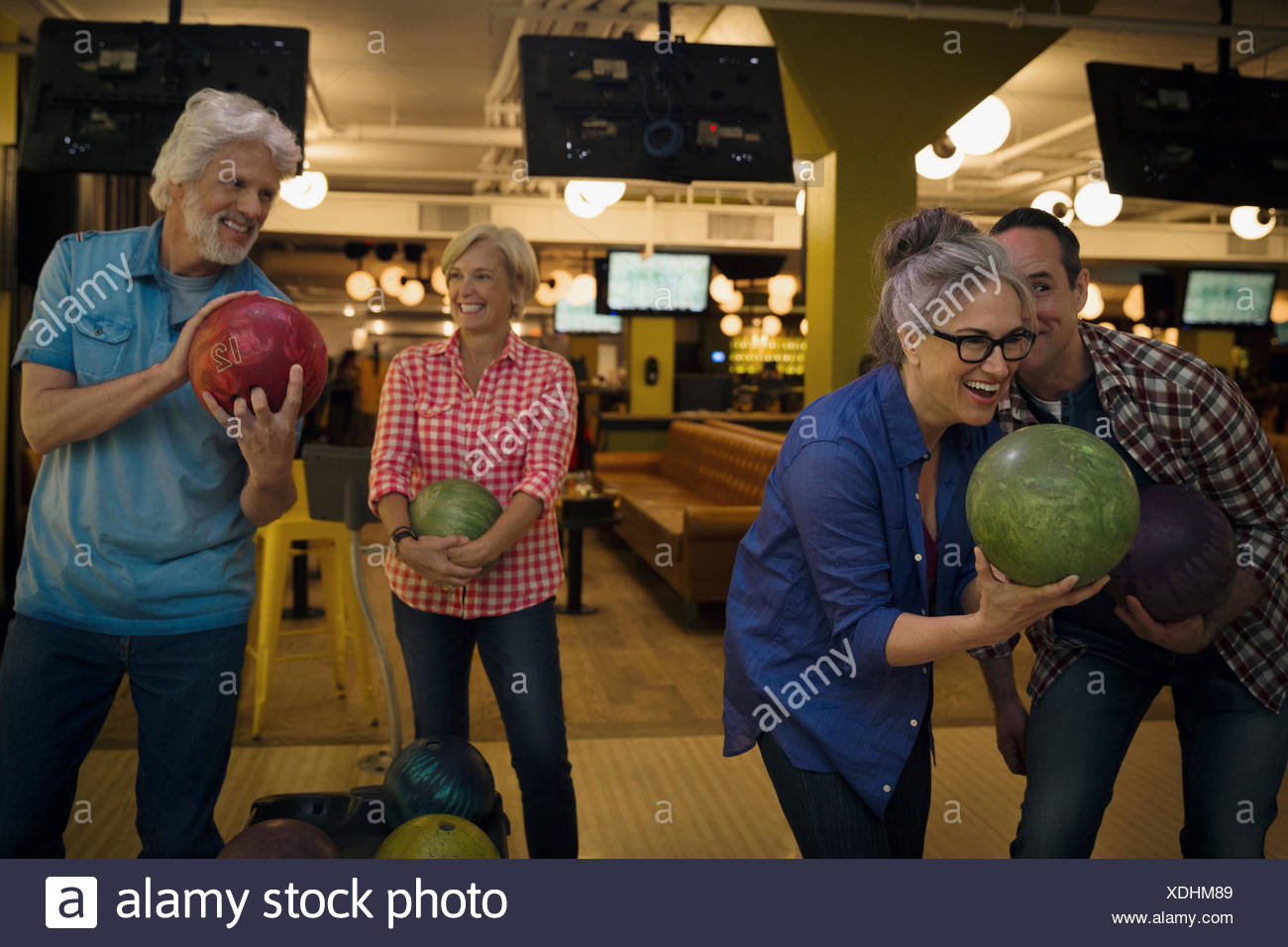 Bowling bowling d'amis Photo Stock