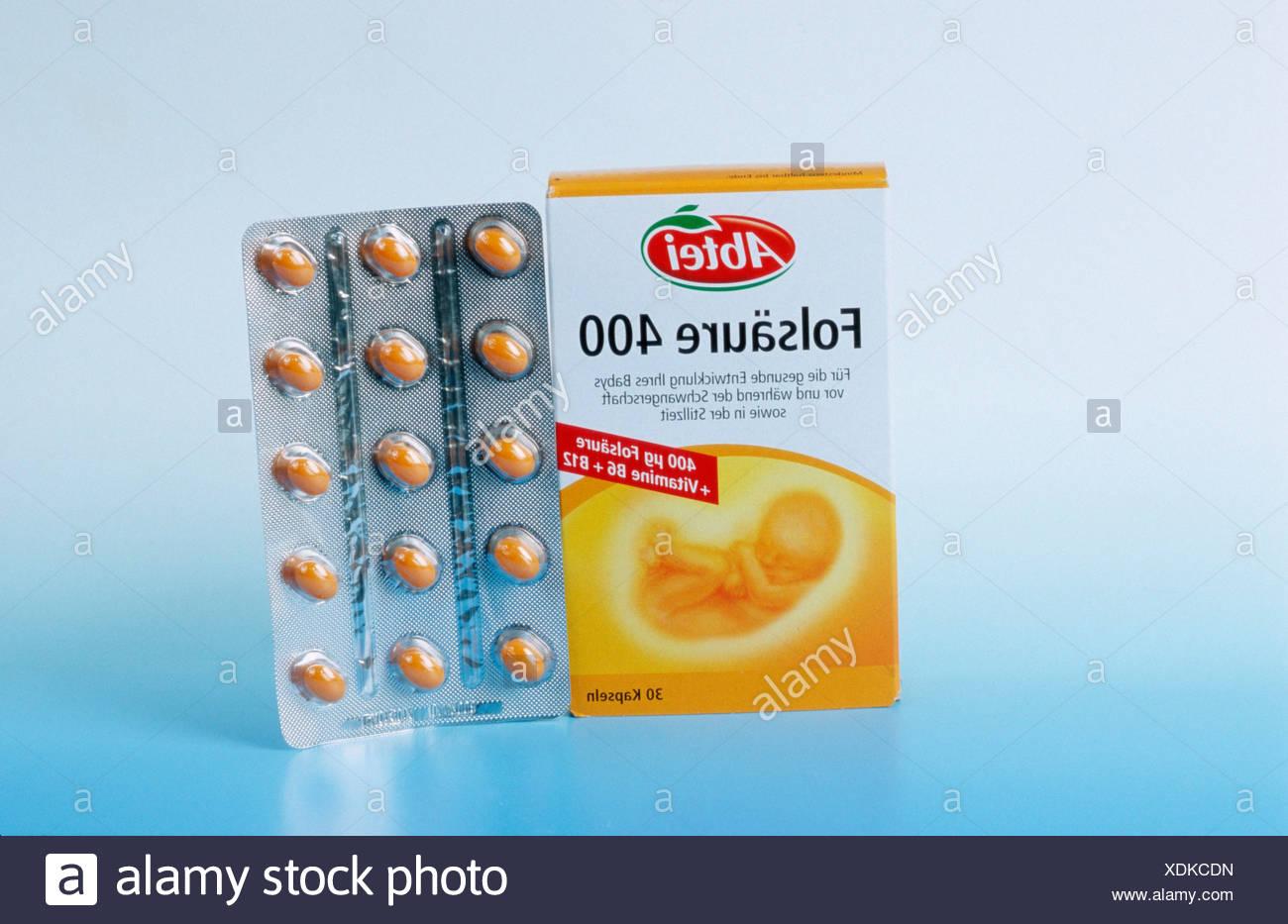 Comprimés d'acide folique Photo Stock