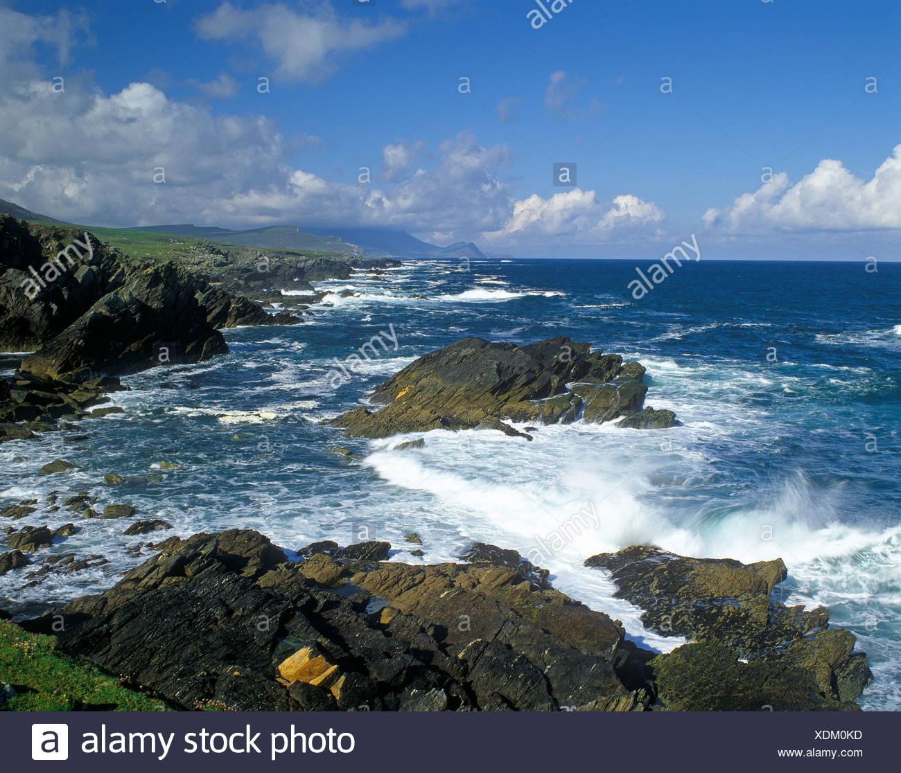 Coast, Slieve Plus, Atlantic Drive, Comté de Mayo, République d'Irlande, Europe Photo Stock