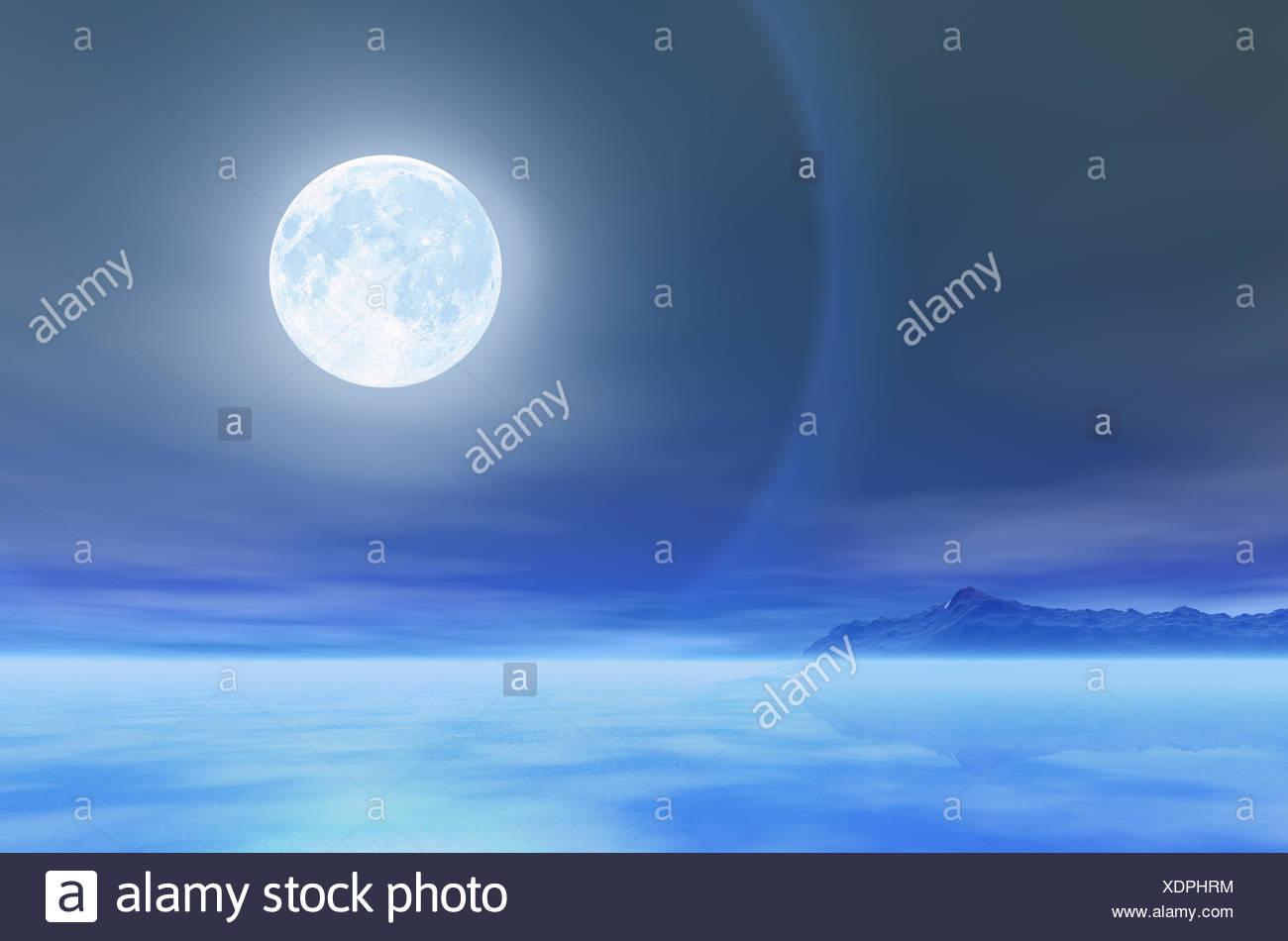 Nuit de lune lune bleue nuit pleine d'eau salée halo mer océan eau bleu nuit lune nuit pleine lune illustration Banque D'Images