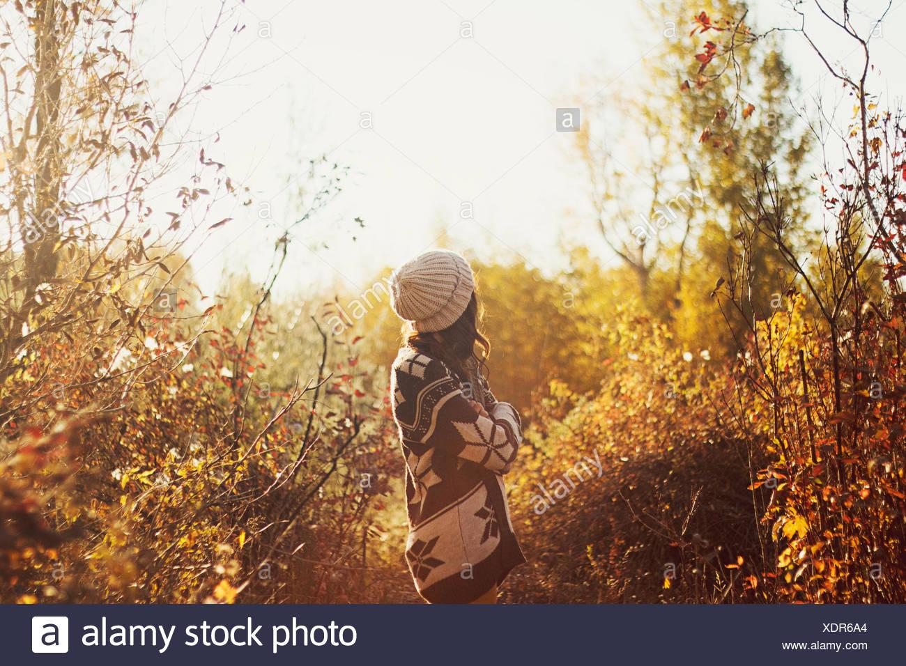 Pull femme en balade en forêt d'automne Photo Stock