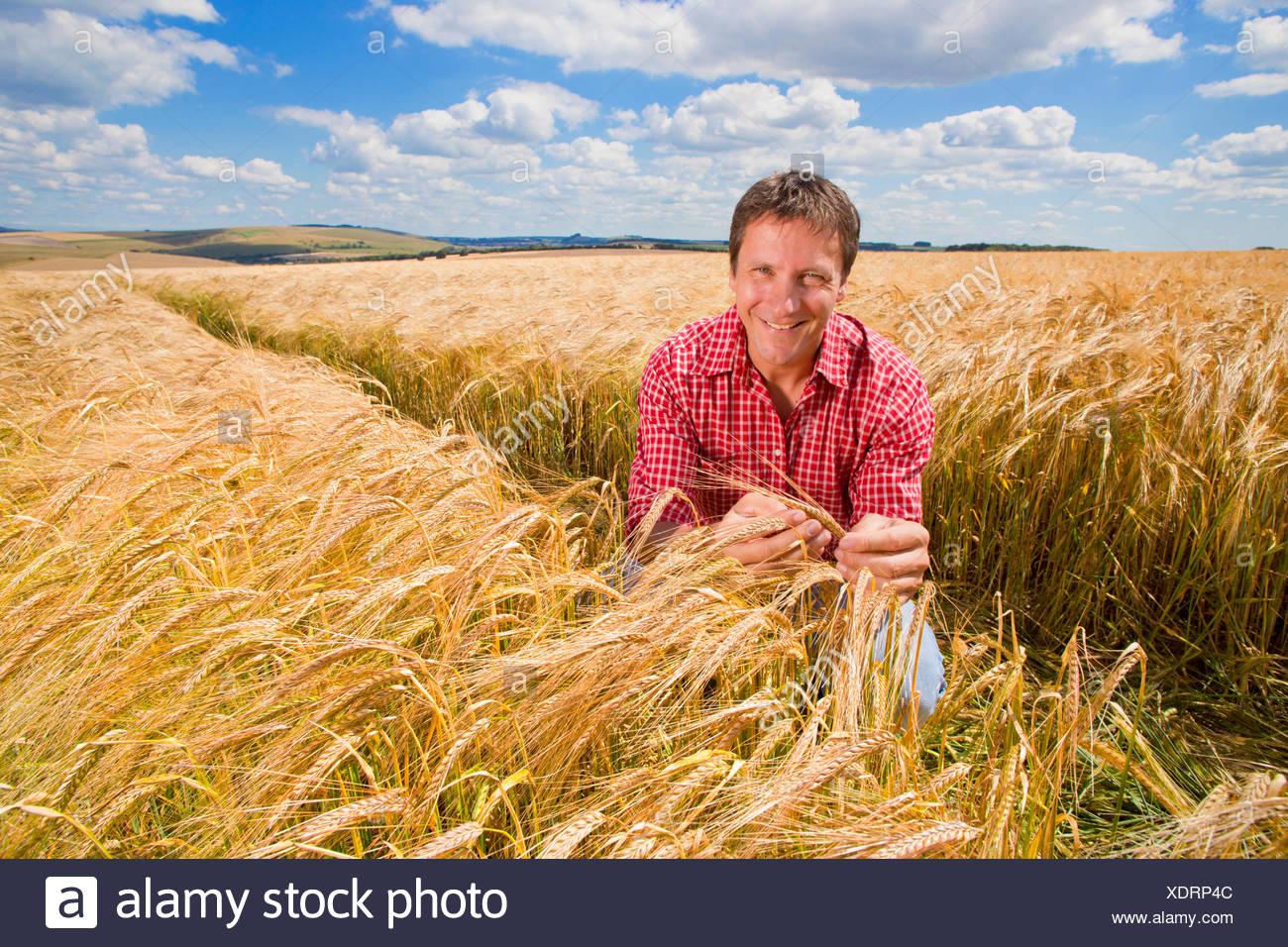 Portrait d'agriculteur confiant de la récolte d'orge rurale ensoleillée en été sur le terrain Photo Stock