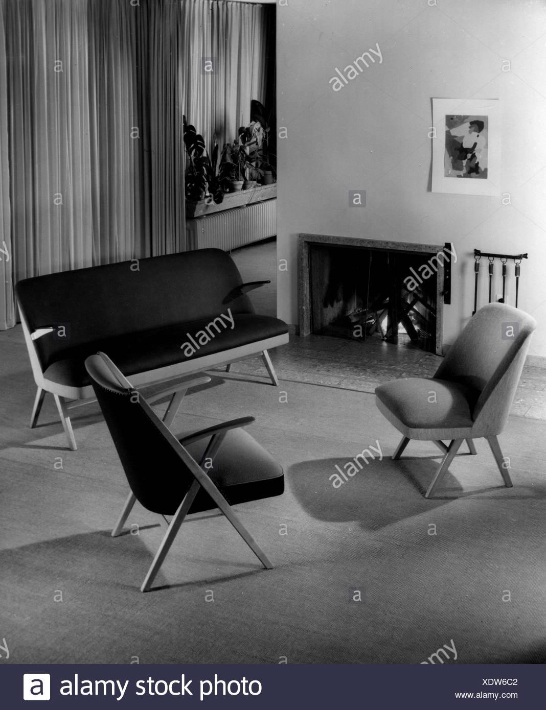 Mobilier Sieges Avec Cheminee 1950 Chaises Fauteuil Canape