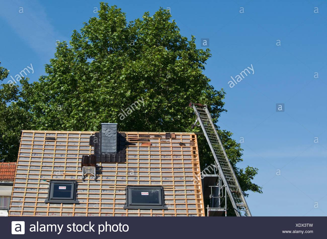 Toit exposé avec de nouveaux chevrons et un monte-charge, nouvelle construction du toit sur une maison, la modernisation, PublicGround Photo Stock