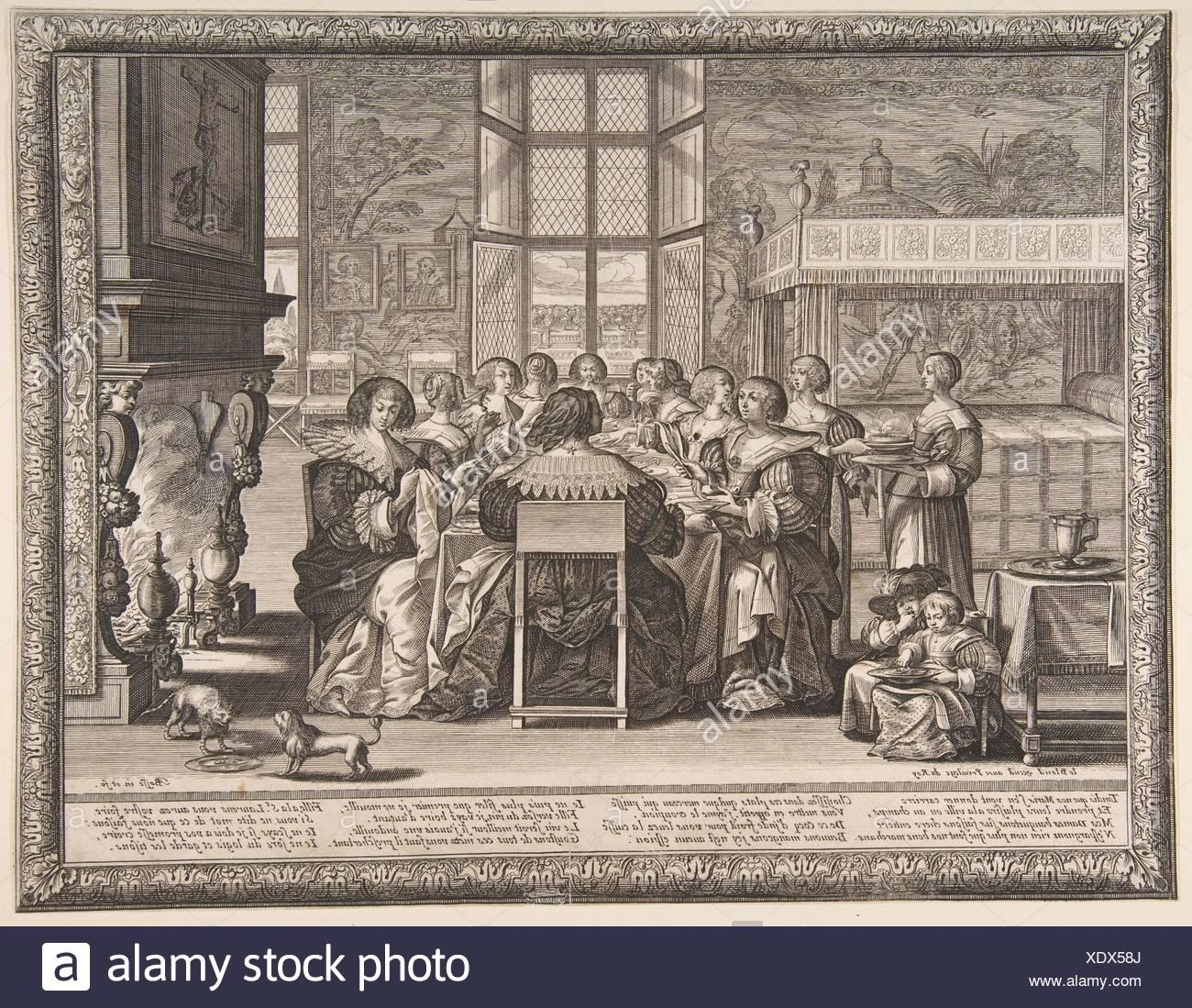 Épouses à la table durant l'absence de leurs maris. Artiste: Abraham Bosse (Français, Tours 1602/1604-1676 Paris); Éditeur: Jean Leblond (Français, Photo Stock