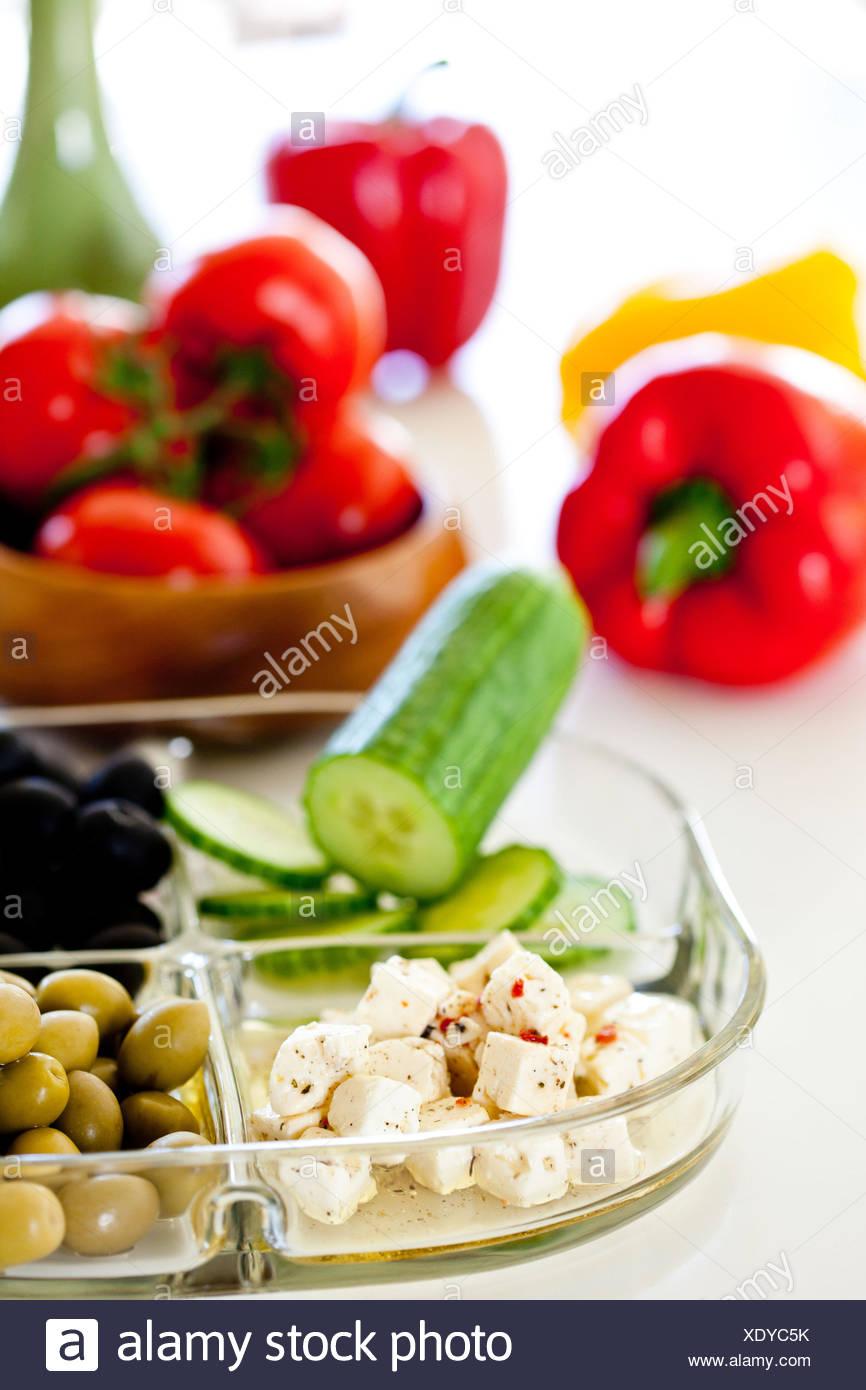 Les aliments consommés sur les rives de la Méditerranée, recommandée dans le cadre d'un écosystème sain, bas régime de cholestérol. Photo Stock