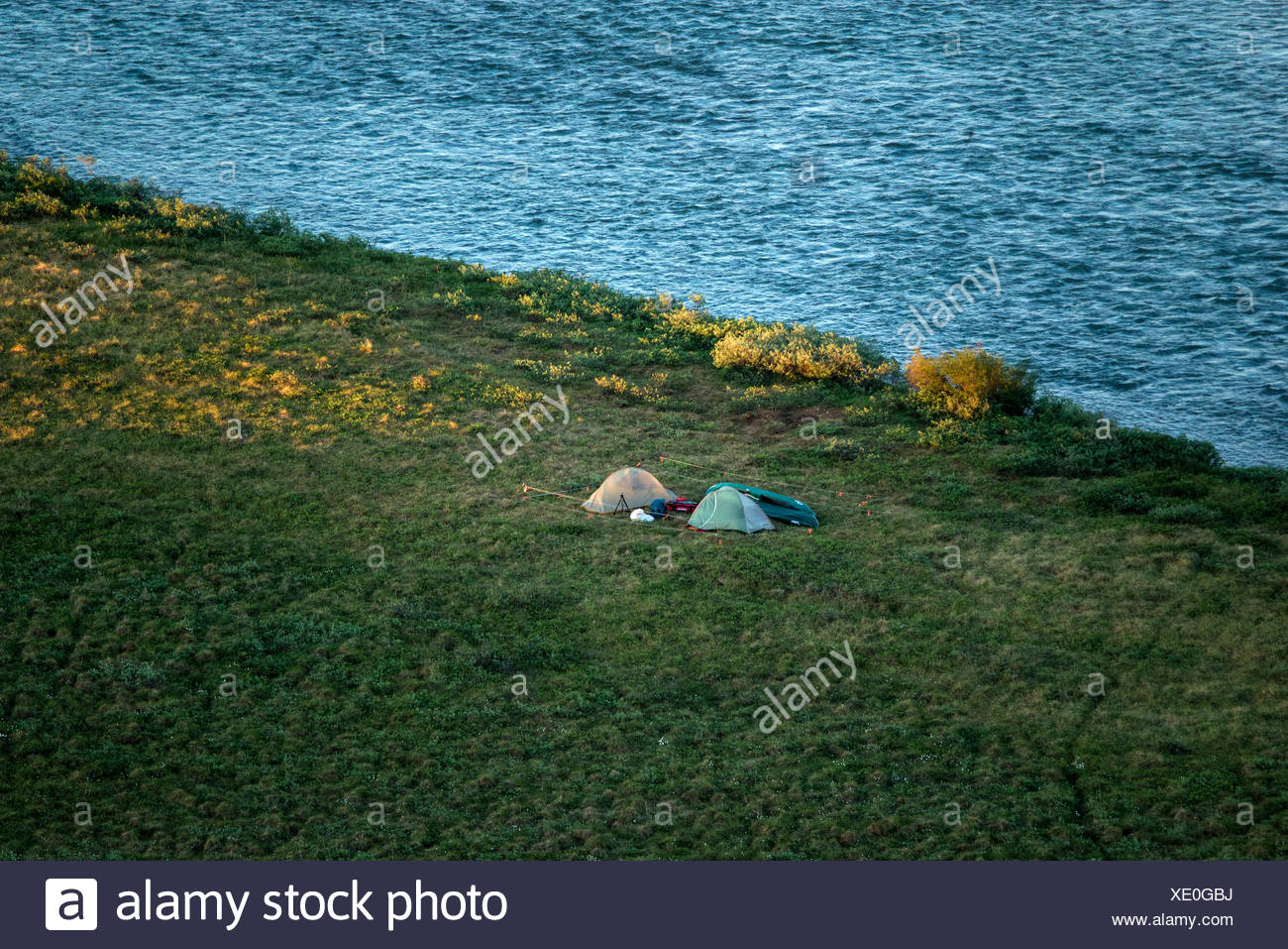 Réserve nationale de pétrole,camping,tentes,USA,l'Alaska Photo Stock