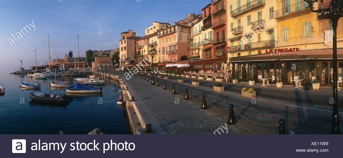 Bateaux dans port, Villefranche-Sur-Mer, France Banque D'Images