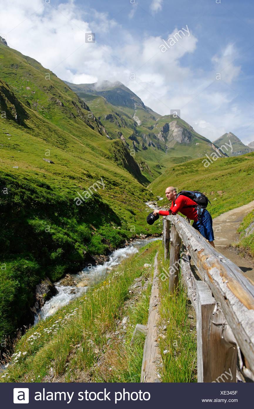 Les randonneurs, l'alpinisme dans Fanealm, Fane Alm, vallée de Vals, Val Pusteria, Pfunderer Montagnes, Alto Adige, Italie, Europe Banque D'Images