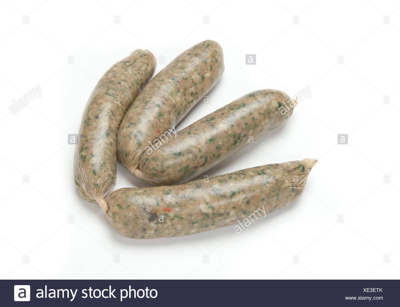 Deux paires de saucisses végétariennes dans les saucisses fraîches dont la teneur en viande est remplacée par des céréales, des légumineuses et du tofu et parfois utiliser une variété d'herbes, d'épices et d'huile à la place de la graisse de la viande Photo Stock