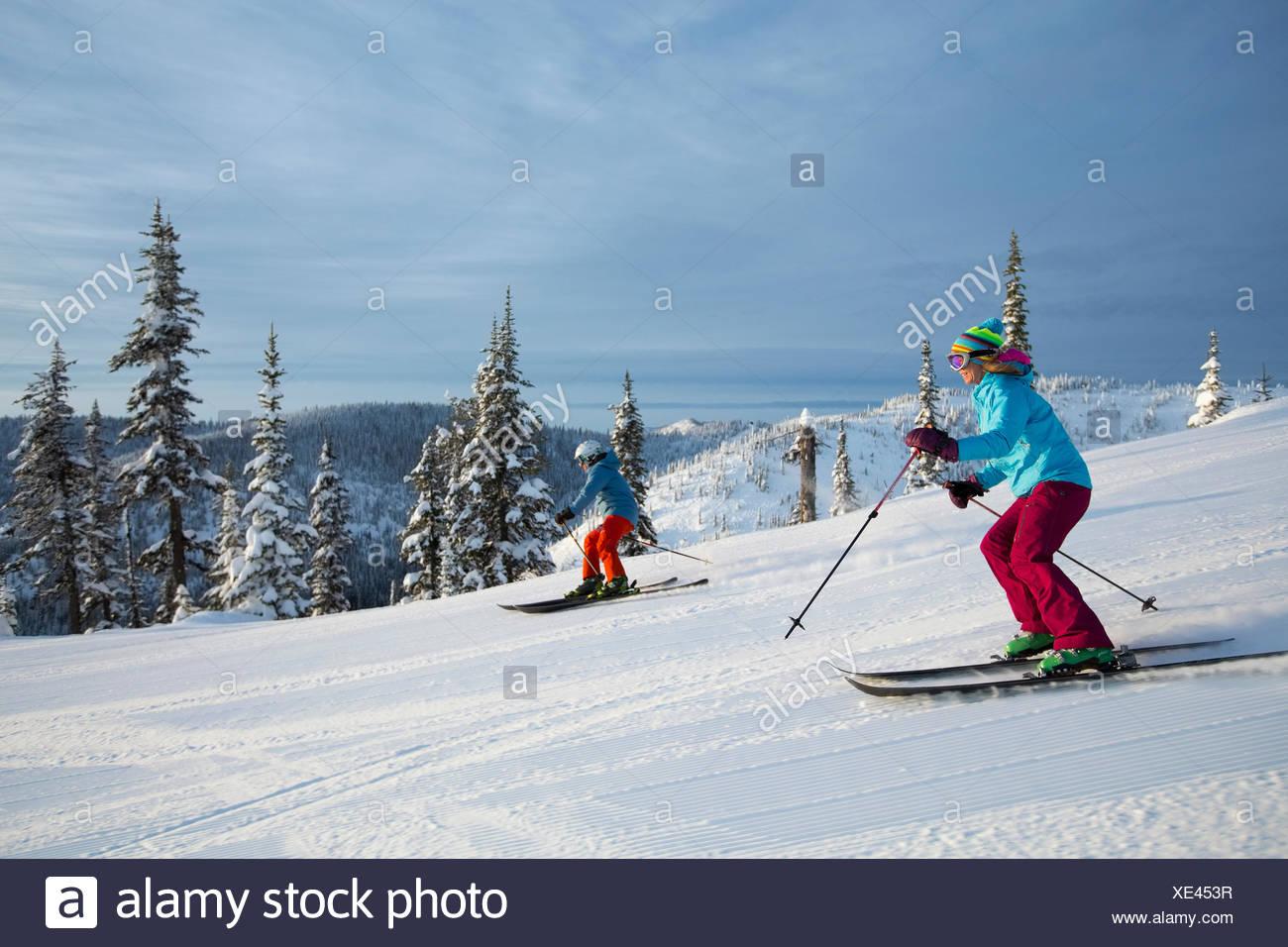 Vue latérale du couple ski Photo Stock