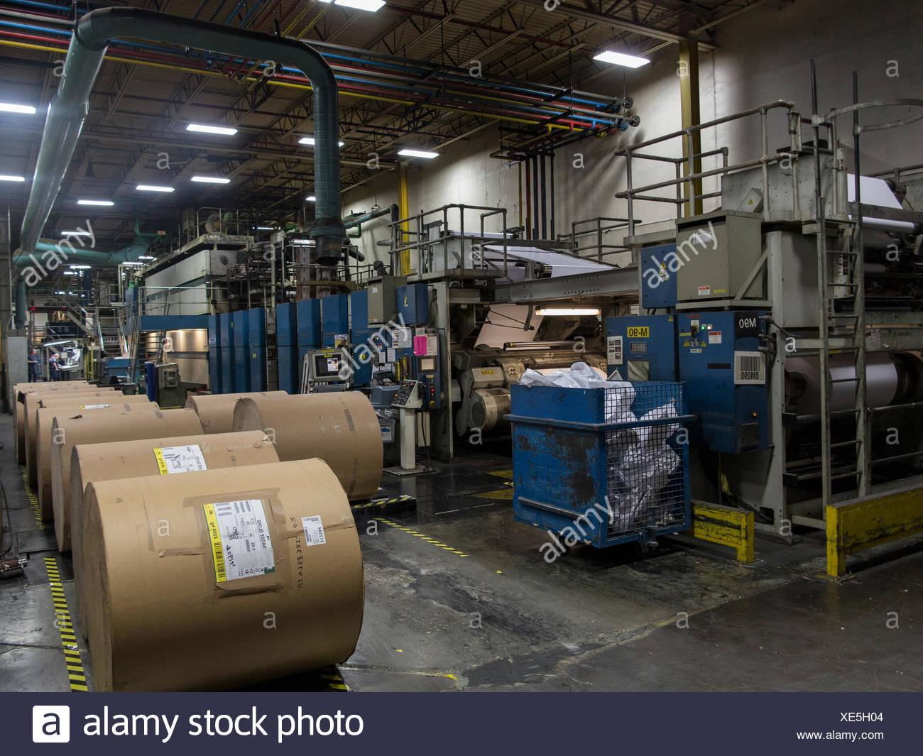 De gros rouleaux de papier pour le web presse offset. Photo Stock