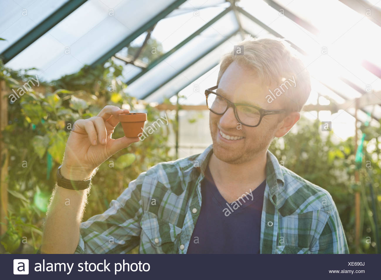 Smiling man holding tiny pot dans les émissions Photo Stock