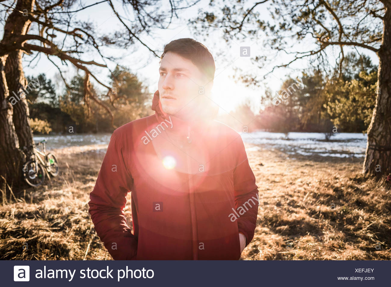 Portrait of young male hiker en forêt au bord du lac Photo Stock