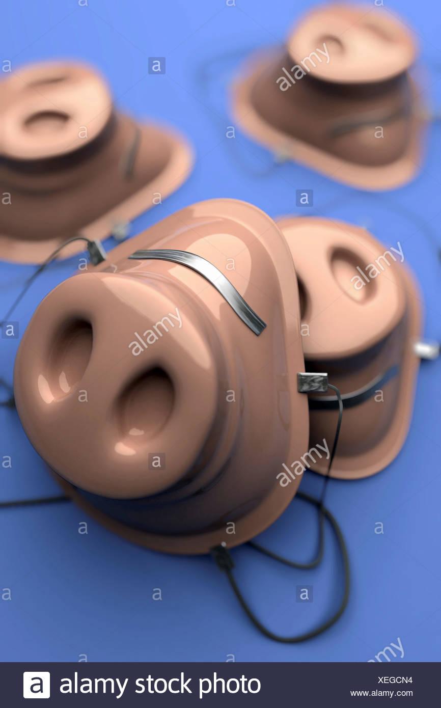 Masque de visage concept image avec un museau de porc représentant le H1N1 virus de la grippe porcine de l'infection. Photo Stock