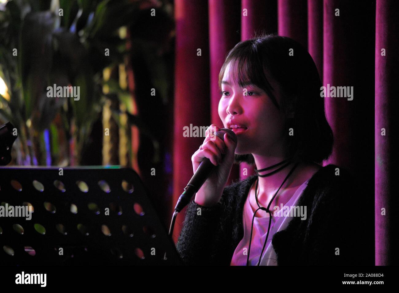 Intrattenimento Karaoke (Suzhou, Cina). Foto Stock