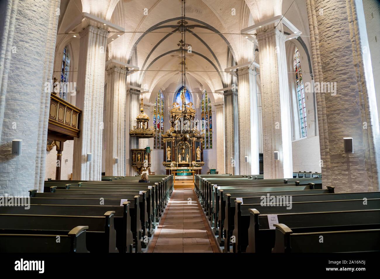 Vista interna, St Wilhadi-Church, Stade, Bassa Sassonia, Germania, Europa Foto Stock
