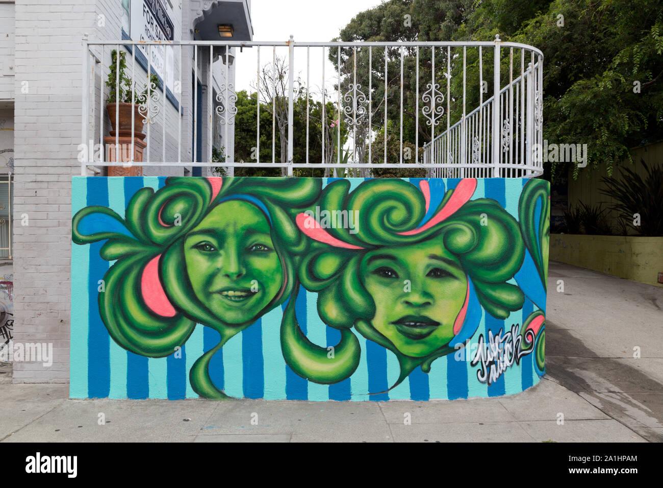 Murale di Jules Muck a Venezia, un quartiere fronte mare sul lato ovest di Los Angeles in California Foto Stock
