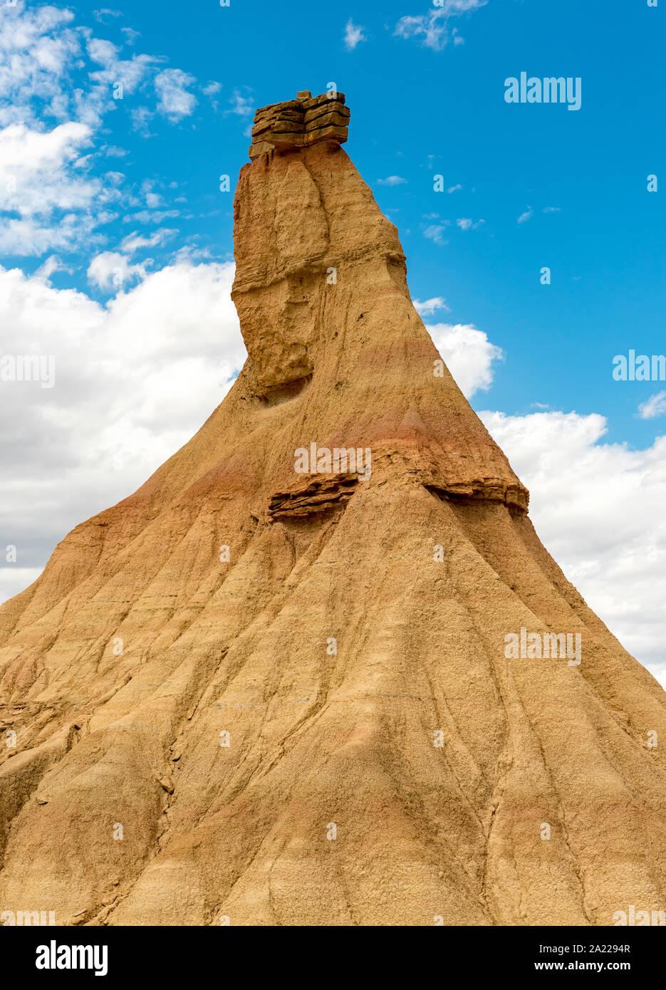 Castil de Tierra (Castildetierra) formazione di roccia, Bardenas Reales Desert, Navarra, Spagna Foto Stock