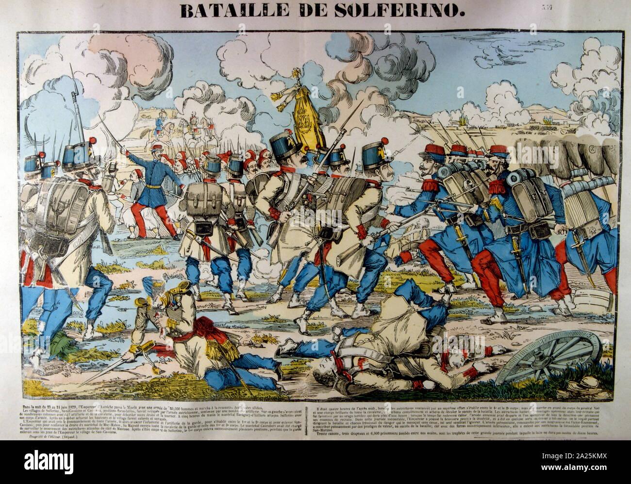 Risorgimento Grandissima Veduta con Napoleone III BATTAGLIA DI SOLFERINO 1859