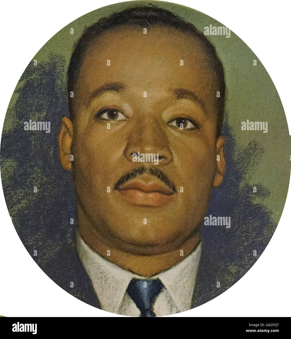 Un funerale piastra con una foto di Martin Luther King Jr. Martin Luther King Jr. (1929-1968) un americano ministro battista e attivista. Foto Stock