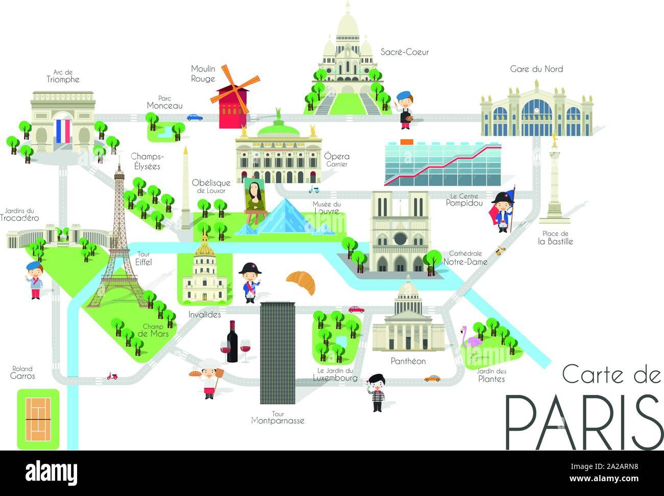 Cartina Della Francia Con Monumenti.Cartoon Mappa Vettoriale Della Citta Di Parigi Francia Illustrazione Di Viaggio Con Punti Di Riferimento E Attrazioni Principali Immagine E Vettoriale Alamy