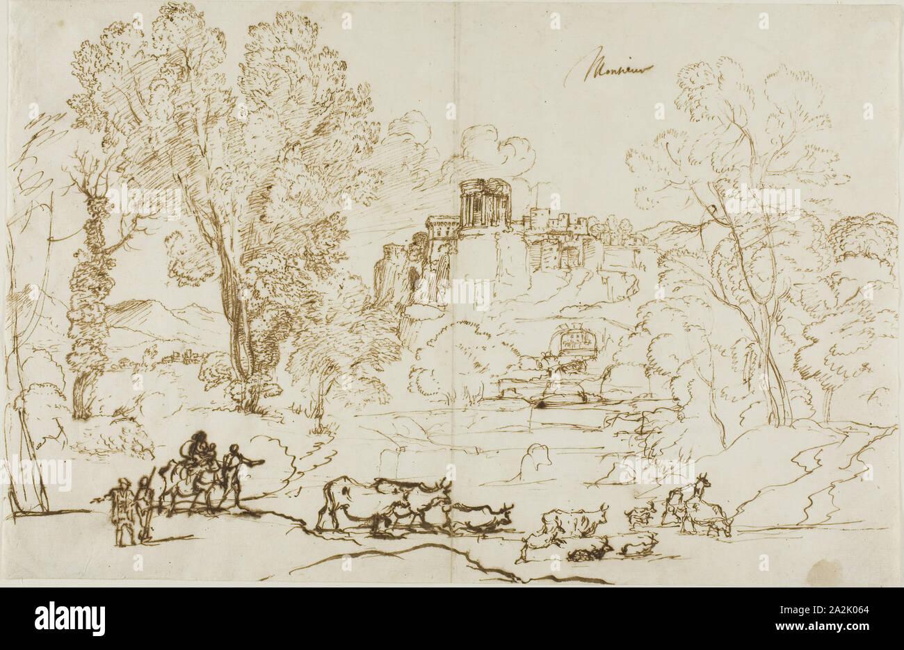 Paesaggio classico, Tivoli, 1636, Claude Lorrain, Francese, 1600-1682, Francia, penna e inchiostro su carta, 248 x 278 mm Foto Stock