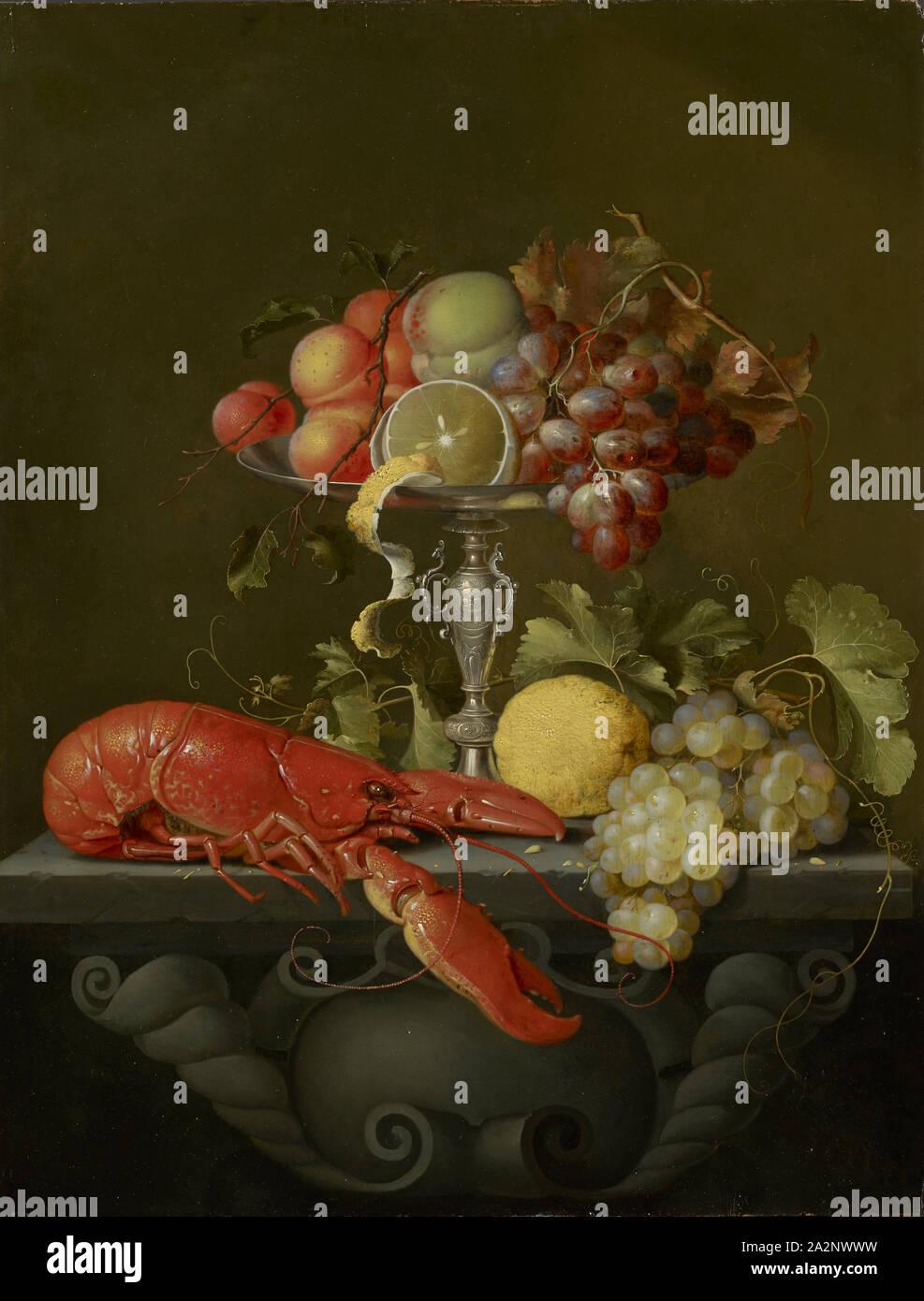 Natura morta con cesto di frutta e l'aragosta, olio su Oak, 64,5 x 49,5 cm, non specificato, Jan Davidsz de Heem, (Nachahmer / imitatore), Utrecht 1606-1683/1684 Antwerpen Foto Stock