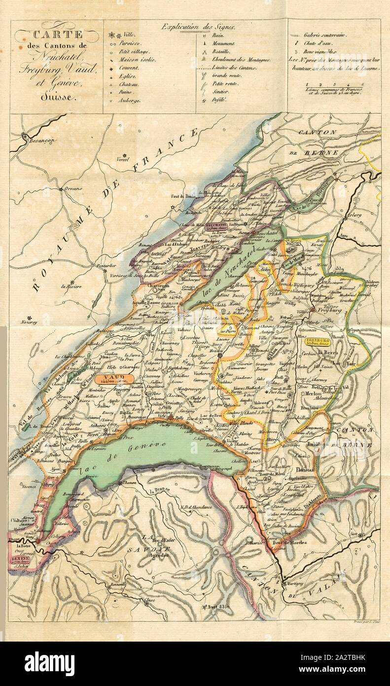 Svizzera Cartina Geografica Cantoni.Mappa Di Cantoni De Neuchatel Freyburg Vaud E Ginevra Svizzera Mappa Del Cantone Di Ginevra Vaud
